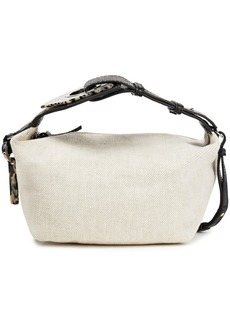 Ganni Woman Snake-effect Leather-trimmed Linen Shoulder Bag Ecru