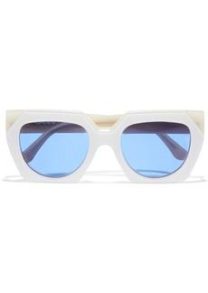 Ganni Woman Square-frame Acetate Sunglasses Ivory