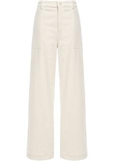 Ganni Woman Ridgewood Cotton-blend Corduroy Wide-leg Pants Ecru