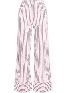 Ganni Woman Striped Cotton-poplin Straight-leg Pants White