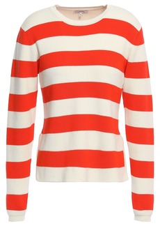 Ganni Woman Striped Ribbed Cotton-blend Sweater Tomato Red