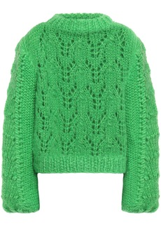 Ganni Woman The Julliard Open-knit Mohair And Wool-blend Sweater Bright Green
