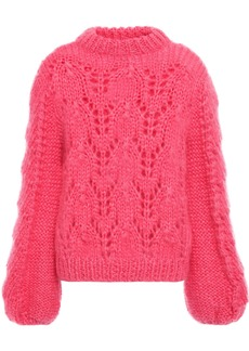 Ganni Woman The Julliard Open-knit Mohair And Wool-blend Sweater Pink