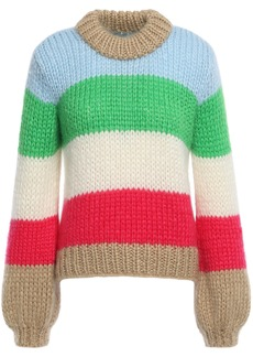 Ganni Woman Julliard Color-block Mohair And Wool-blend Sweater Multicolor