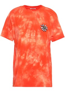 Ganni Woman Tie-dyed Cotton-jersey T-shirt Orange