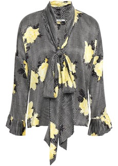 Ganni Woman Tie-neck Printed Silk-blend Satin Blouse Black