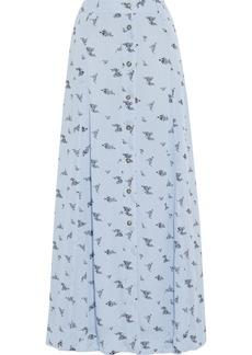 Ganni Woman Tiger-print Georgette Maxi Skirt Light Blue