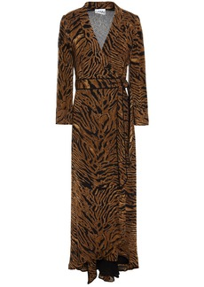 Ganni Woman Tiger-print Georgette Maxi Wrap Dress Animal Print