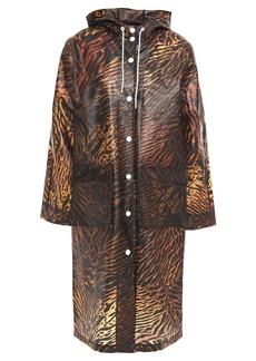 Ganni Woman Tiger-print Matte-tpu Hooded Raincoat Animal Print