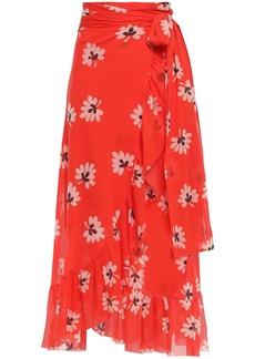 Ganni Woman Tilden Floral-print Stretch-mesh Midi Wrap Skirt Tomato Red