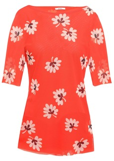 Ganni Woman Tilden Floral-print Stretch-mesh Top Tomato Red