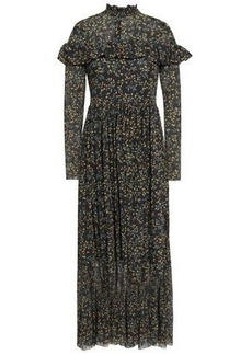 64083d59 Ganni Woman Tilden Ruffle-trimmed Floral-print Mesh Maxi Dress Black