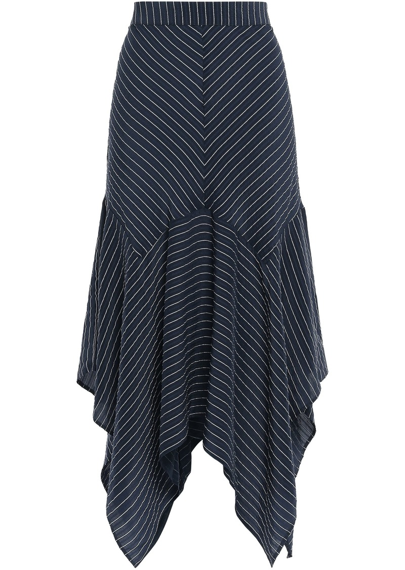 Ganni Woman Total Eclipse Pinstriped Silk-blend Seersucker Midi Skirt Navy