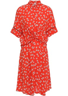 Ganni Woman Silvery Twist-front Floral-print Crepe Dress Tomato Red