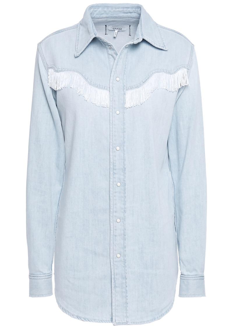 Ganni Woman Trinity Fringe-trimmed Denim Shirt Light Denim