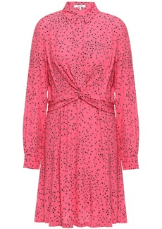 Ganni Woman Barra Twist-front Floral-print Crepe Dress Pink