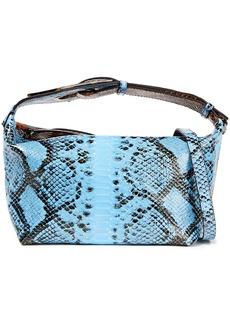 Ganni Woman Two-tone Snake-effect Leather Shoulder Bag Light Blue