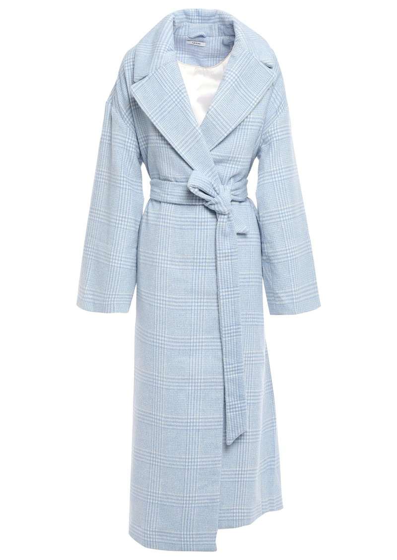 Ganni Woman Woodside Prince Of Wales Checked Brushed Wool-blend Coat Light Blue