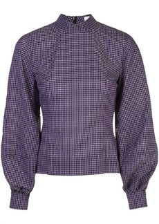 Ganni gingham check pouf-sleeve top