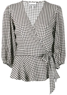 Ganni gingham check wrap blouse
