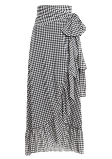 Ganni Gingham Wrap Midi Skirt