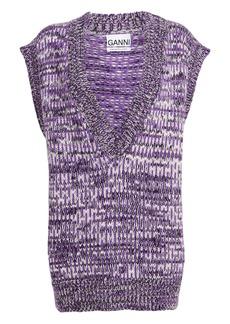 Ganni Hand-Knit Wool-Alpaca Melange Vest