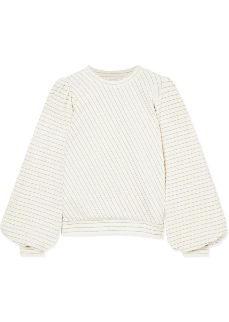 Ganni Metallic Striped Cotton-blend Velour Sweatshirt