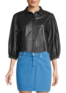 Ganni Heavy Leather Snap-Front Peasant Top