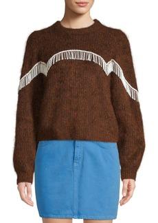 Ganni Heavy Soft Wool Knit Puff Sleeve Pullover