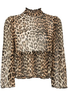 Ganni high neck leopard print blouse