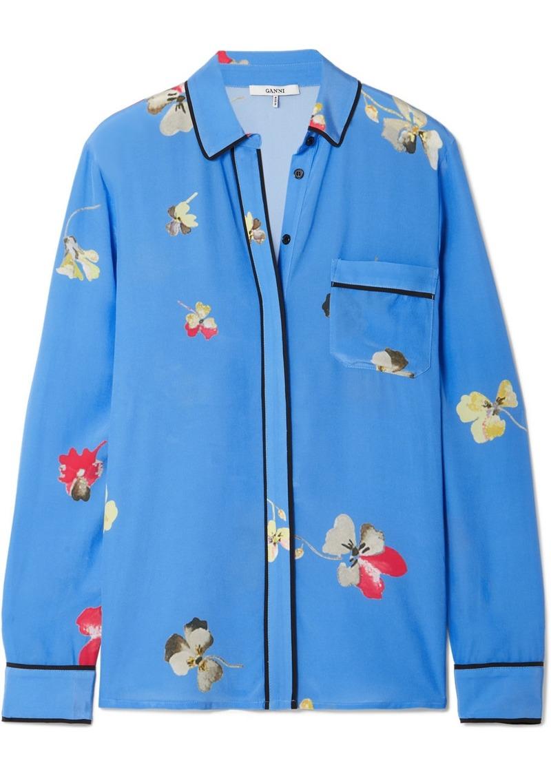 4338551e55de8 Ganni Joycedale floral-print silk crepe de chine shirt