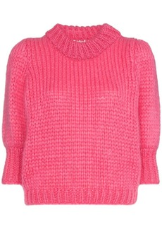 Ganni Julliard knitted mohair short sleeved jumper