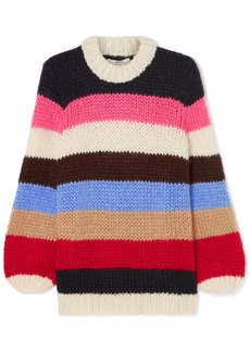 Ganni Striped Mohair And Wool-blend Sweater