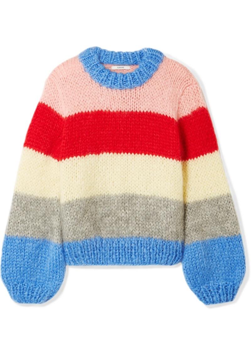 9939dd359a640 Ganni Julliard Striped Mohair And Wool-blend Sweater