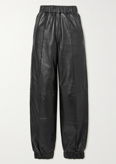 Ganni Leather Tapered Pants