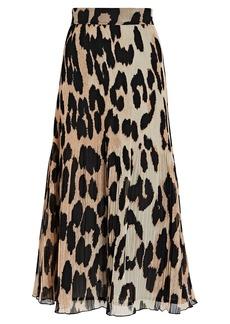 Ganni Leopard Pleated Georgette Midi Skirt