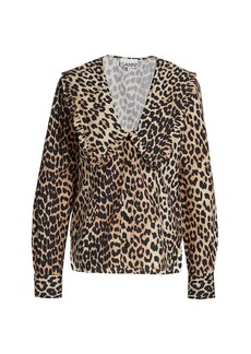 Ganni Leopard Poplin Blouse