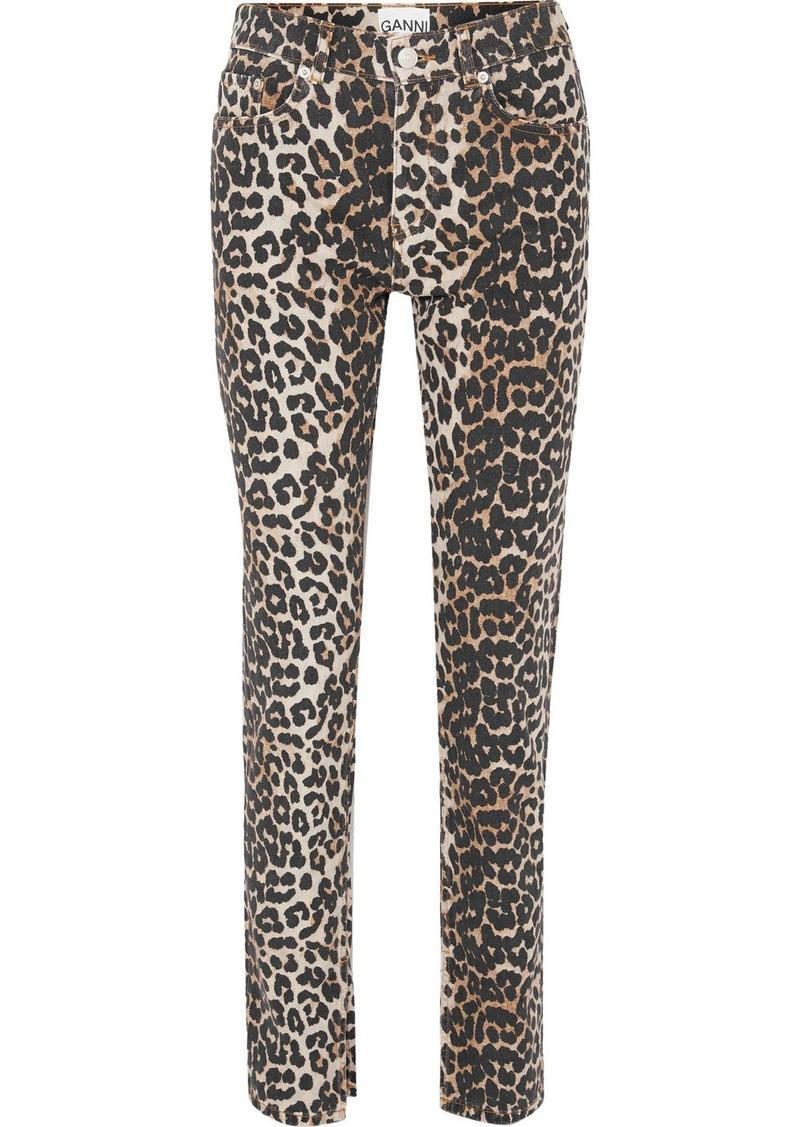 Ganni Leopard-print High-rise Slim-leg Jeans