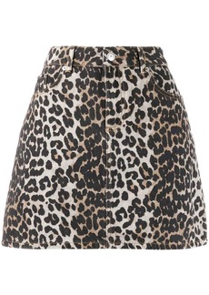 Ganni leopard print mini skirt
