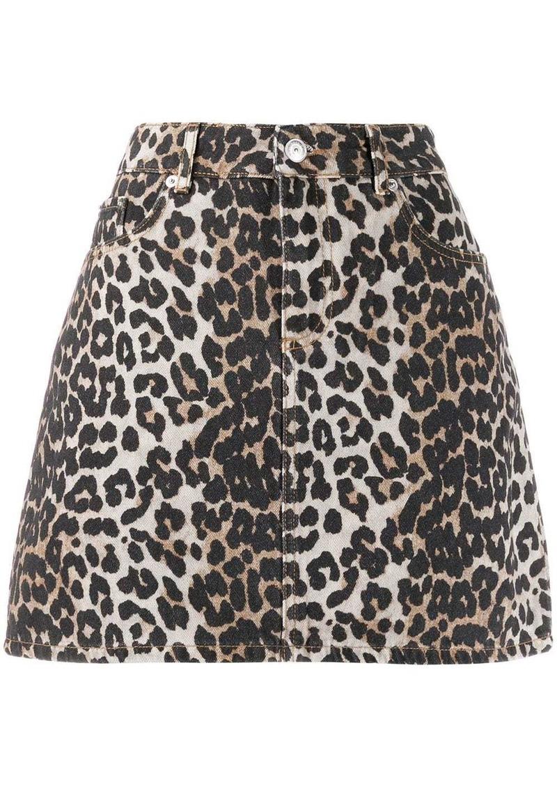 Ganni leopard print mini skirt
