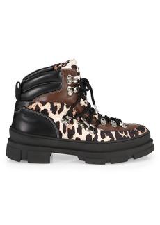 Ganni Leopard-Print Mixed-Media Hiking Boots