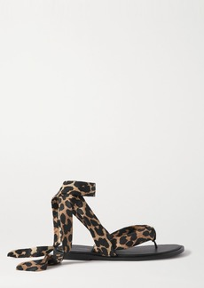 Ganni Leopard-print Shell And Leather Sandals
