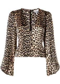 Ganni leopard print top