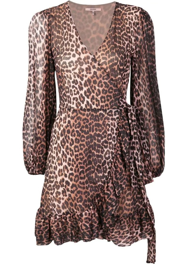 1053682aa4d Ganni leopard print wrap dress