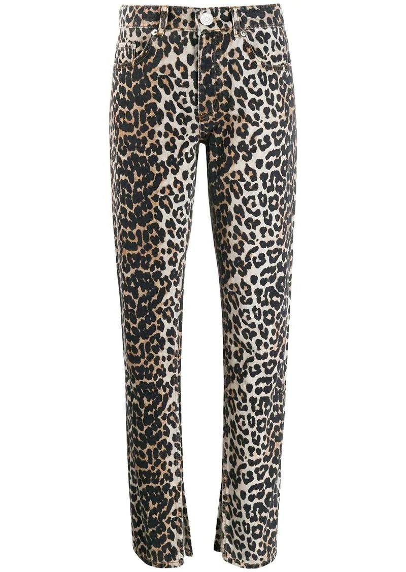 Ganni leopard slim-fit jeans