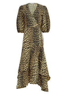Ganni Leopard Yellow Wrap Maxi Dress
