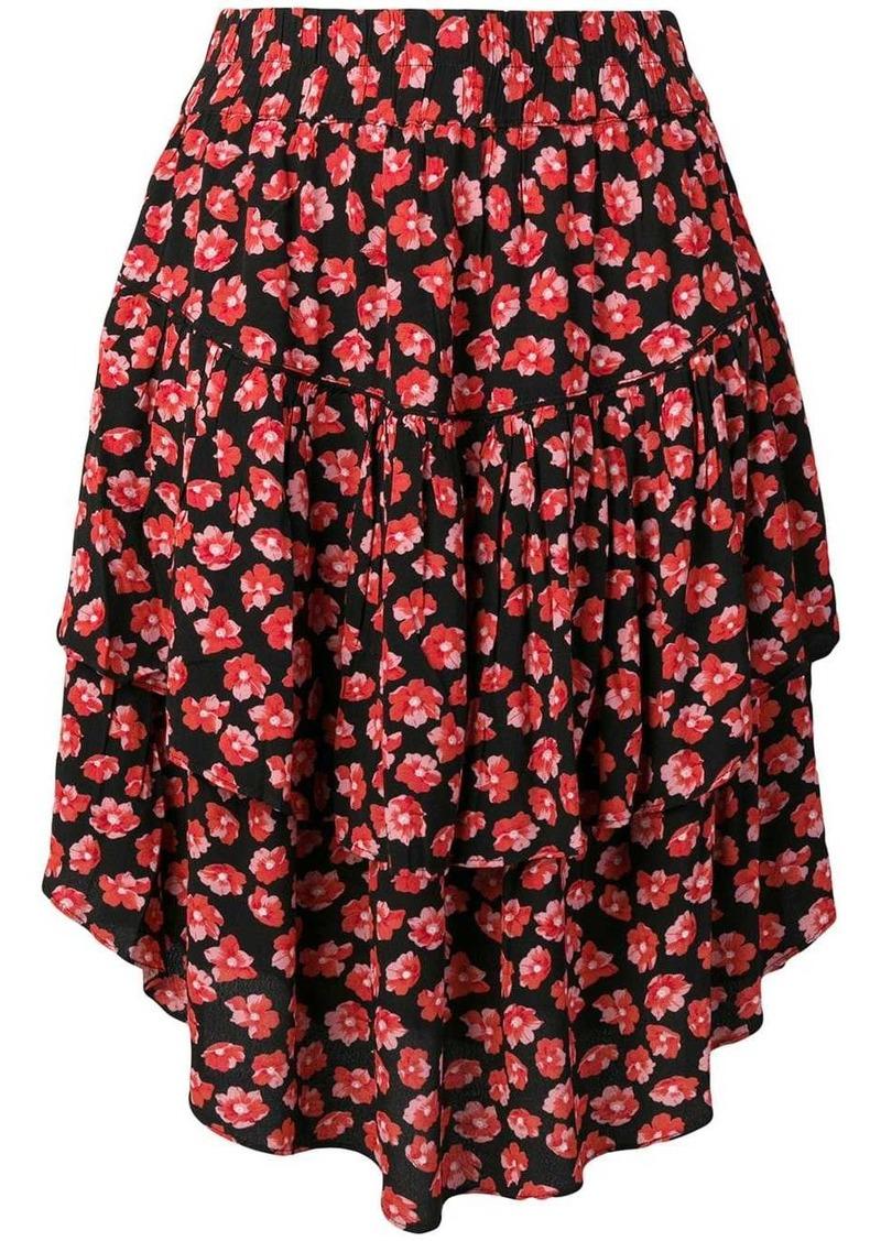 Ganni Lindale crepe floral-print skirt