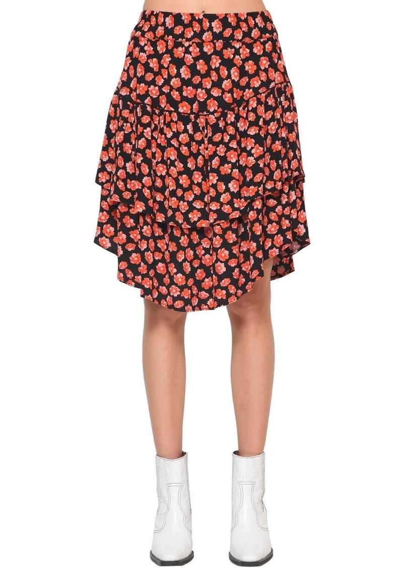 Ganni Lindale Floral Printed Crepe Mini Skirt