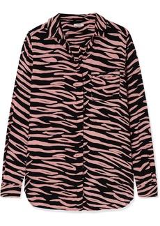 Ganni Lindale Zebra-print Crepe Shirt