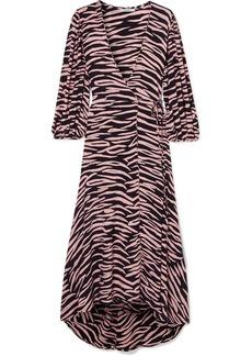 Ganni Zebra-print Crepe Wrap Dress